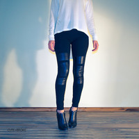 $69.00 Womens  leggings pants leather patches by cuteandbroke on Etsy