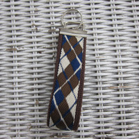 Argyle Brown, blue &amp; cream key fob, keychain, wristlet