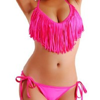 Amazon.com: Cloris Murphy Sexy Fringed TASSEL Pink Triangle Bikini Halter Top &amp; Bottom Swimwear Bathing Suit BN912PK M &amp; L size Pink: Clothing