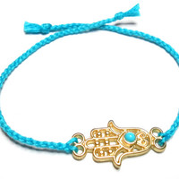 Gold plated Hamsa hand of fatima braided Friendship Bracelets - turquoise soft cotton string lucky evil eye valentine&#x27;s day gift