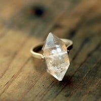 Herkimer Diamond Ring Custom Stone Sizing by lumafina on Etsy