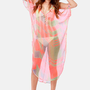 Where's the Beach? Sheer Neon Coral Print Cover-Up