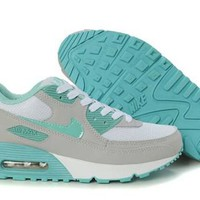 Nike Air Max 90 Women's Running Shoe Wolf Grey/Fresh Water ID 1002 [UK L-274] - £45.99 :