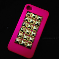 Large Gold Studded iPhone 4 4S Hot Pink by MargauxBonnie on Etsy
