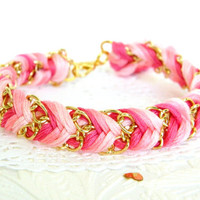 Rose Ombre  Chevron Braided Modern Friendship Bracelet by HelloZee