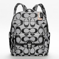 Coach :: Poppy Metallic Signature Sateen Backpack