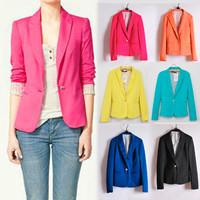 VOGUE Ladies Casual Lapel Collar One Button Career OL Suit Outerwear Blazer