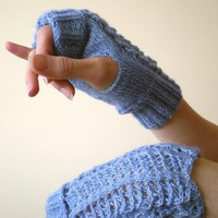 Fingerless/ Mittens / Gloves  Sky Blue Lacy by BVLifeStyle on Etsy