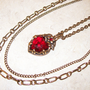Three Strand Necklace, Red Heart Pendant, Antiqued Gold Chain, Gift for Her, Romantic Heart Necklace, Red Heart Pendant