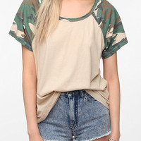 Urban Outfitters - Truly Madly Deeply Camouflage Sleeve Raglan Boyfriend Tee