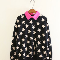 STARS printed SWEATSHIRT with a COLLAR