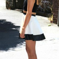 White Skater Skirt with Black Trim