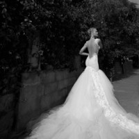 Beautiful Wedding dress with dropped opened back and long dramatic train