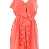 Orange Front Zipper Dress - 29 and Under