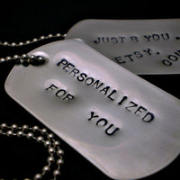 Handstamped Dog Tag Necklace  Stainless Steel  by justByou on Etsy