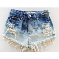 Custom, Bleach, Dyed Denim, Highwasted Shorts