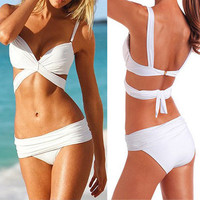 Hot Swimsuit Swimwear Strap Bikini Sexy Padded Beachwear White T74 S/M/L