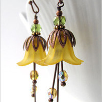 Romantic Sunny Yellow Flower Blossom Earrings - Shy Siren