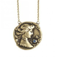 Love, Adorned : VINTAGE 14K YELLOW GOLD ART NOUVEAU LADY HEAD BUST WITH SAPPHIRE PENDANT NECKLACE - VNGSN01