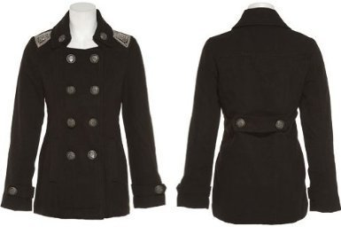 Amazon.com: LAST KISS Double Breasted Coat W/ Shoulder Detail [10691FSN1-Long]: Clothing