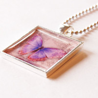 Butterfly Pendant, necklace, pendant and chain, resin pendant, pink, purple, silver plate, pink butterfly pendant (2095)