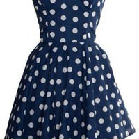 Pin-Up Blue Polka Dot Prom Party Dress