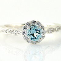 14K Aquamarine Engagement Ring Aquamarine Ring by RareEarth