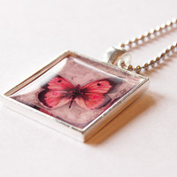 pink butterfly pendant, necklace, pendant and chain, resin pendant, pink, silver plate, Butterfly pendant (2096)