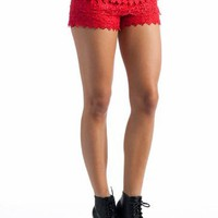 tiered floral lace hotpants $24.20 in RED - Shorts | GoJane.com