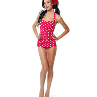 Vintage Inspired Swimsuit 50&#x27;s Style Pin Up Red With White Polka Dot Bathing Suit - 6-18 - Unique Vintage - Cocktail, Pinup, Holiday &amp; Prom Dresses.