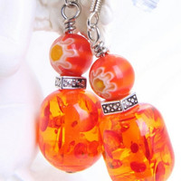 Cass resin and mille fiore glass beaded earrings by WakeUpTheAngel
