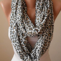 Fashion Scarf - Valentine&#x27;s Day Gift - Trendy Gift Scarf - Leopard Scarf - Soft Cotton Infinity Scarf