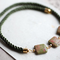 Olive and Pink Three Jasper Stone and Cord Necklace by by pardes