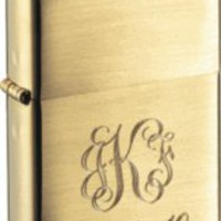 Zippo Brushed Brass Lighter with Free Engraving