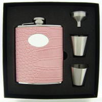 "Visol ""Annabella"" Light Pink Snake-Skin Leatherette 6oz Deluxe Flask Gift Set"