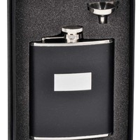 "Visol ""Ontario"" Black Leather 6oz Flask Gift Set"