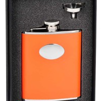 "Visol ""Sunbeam"" Orange Leather 6oz Flask Gift Set"