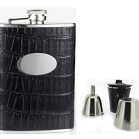 "Visol ""Fantastique"" Black Crocodile Leatherette 8oz Deluxe Flask Gift Set"