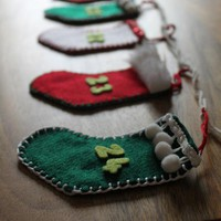 Advent Calendar Garland Bunting Stocking Christmas Decoration Red White Green Felt | Luulla