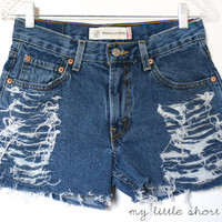SALE  High Waisted Distressed Levi&#x27;s Shorts by MyLittleShortShop