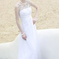 White Sleeveless Lace Sheath Wedding Dress