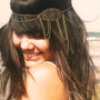 Chain  Headpiece Headband Hair Piece Bohemian Hipster Boho Hippie Bronze Floral Long Centerpiece Four Drape Bridal  Jewelry