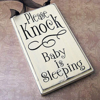 Please Knock Sign Baby is Sleeping Small by SaidInStoneOnline