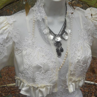 Beaded satin shrug cream ivory  vintage wedding rustic  bohemian  small  medium  by vintage opulence on Etsy