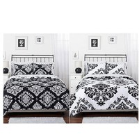 Amazon.com: Black White Damask Reversible Queen Comforter Set: Home & Kitchen