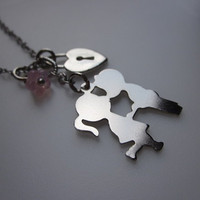 Stolen Kisses A Charm Necklace in Silver Finish by lovespelljewels