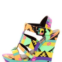 Dollhouse Electric Black Multi Neon Print Platform Wedges