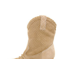 Very Volatile Round-Up Sand Beige Suede Cowboy Boots