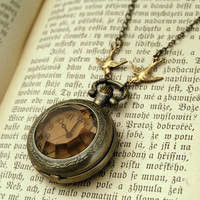 Amber Glass Pocket Watch Necklace - $34.00 : RagTraderVintage.com, Handmade Indie Retro Accessories
