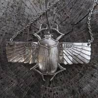 Silver Winged Scarab Necklace - $20.00 : RagTraderVintage.com, Handmade Indie Retro Accessories